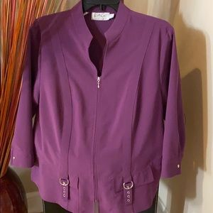 Professional Purple Top with Full Front Zipper